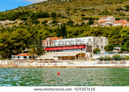 DALMATIA, REGION OF SPLIT, CROATIA - AUG 20, 2014: Architecture of Dalmatia, the Adriatic coast. Coast of the Adriatic Sea in Dalmatia became a popular destination for millions of tourists