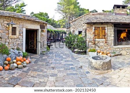 Dalmatian old  stone village street, Croatia - stock photo