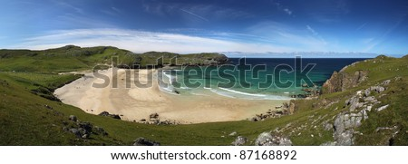 Dalmore beach on Lewis, Scotland in summer sun - stock photo