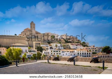 Dalt Vila medieval fortress. Ibiza island and city, Spain. - stock photo