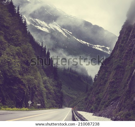 Dalton highway on Alaska - stock photo