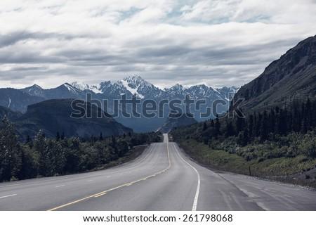 Dalton highway on Alaska - stock photo