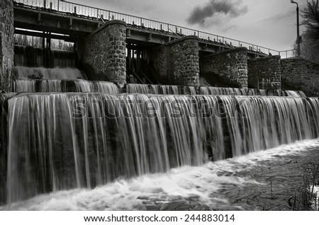 Dam (Black and white photo) - stock photo