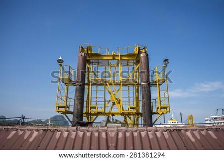 Dam boat in the port - stock photo