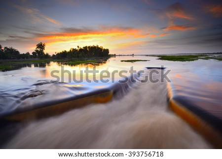 Dam catchment from which water is flowing. - stock photo