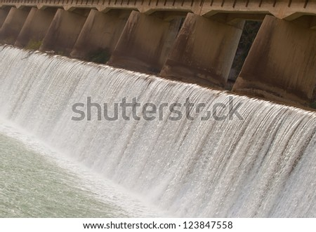 dam construction on river - stock photo