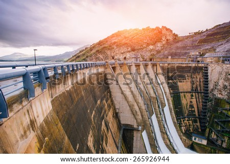 Dam in Europe and Italy.Granite mountains and ravine. - stock photo