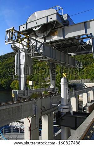 Dam machinery/crane - stock photo