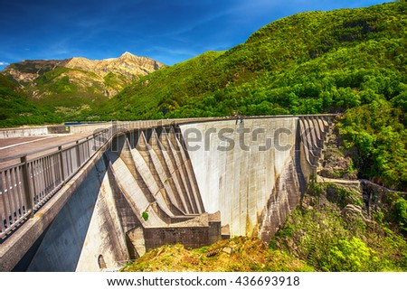 Dam of Contra Verzasca Ticino, Switzerland. The dam creates a water reservoir Lago di Vogorno. It is famous place for bungee jumping and place where some scenes of James Bond movie was taken place.