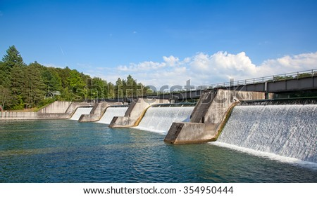 Dam of the hydro power sation on the Rhine river - stock photo