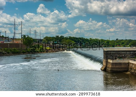 Dam on the Schuylkill River, seen from Fairmount Park in Philadelphia, Pennsylvania. - stock photo