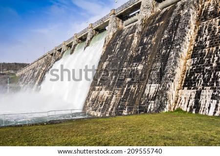 Dam over Zadorra river, Basque Country (Spain) - stock photo
