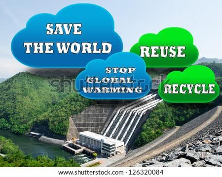 Dam reservoir. Concept for energy saving the World. - stock photo