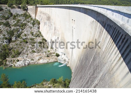 Dam wall in Bimont park, Provence, France - stock photo
