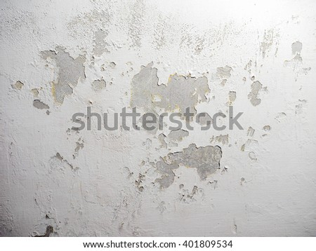 Damage caused by damp and moisture on a wall - stock photo