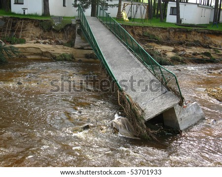 damage caused by heavy rain showers in the holiday center - stock photo