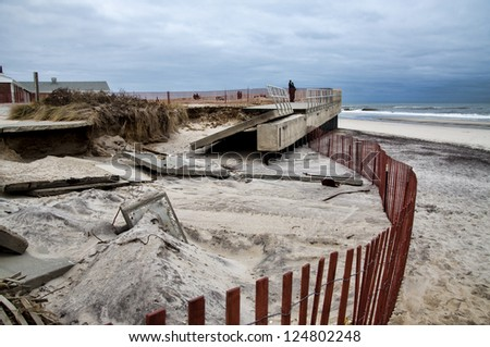 Damage from Hurricane Sandy at Smith Point October 29, 2012 - stock photo