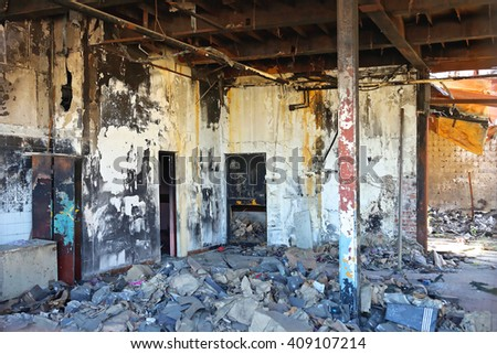 Damage in Factory After Fire Inferno - stock photo