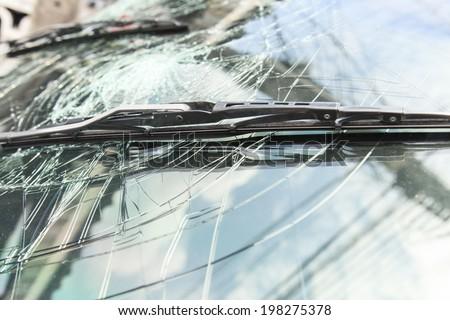 Damage on car, broken glass  - stock photo