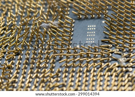 Damage on Computer Central Processor Unit at Full Focus - stock photo