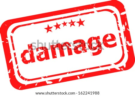 damage word on red rubber old business stamp, raster