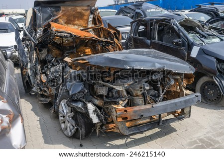 Damaged and crashed car by accident