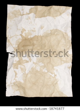 Damaged and ripped A4 paper with tea and coffee stains