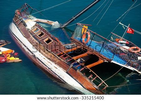 Damaged boat of refugees, Kos Island,Greece,October 2015 - stock photo
