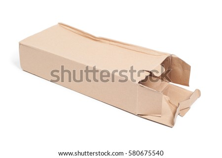 Damaged cardboard box isolated on white