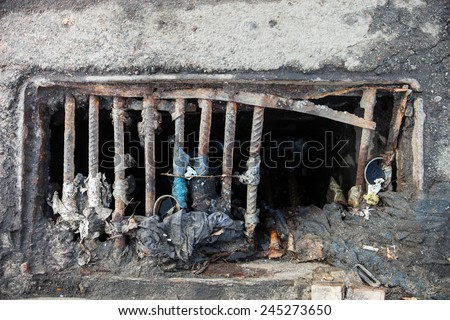 Damaged drain grate with the garbage on it - stock photo