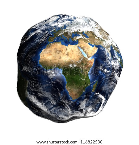 Damaged Earth isolated on white showing Europe and Africa. Extremely detailed. Elements of this image furnished by NASA. - stock photo