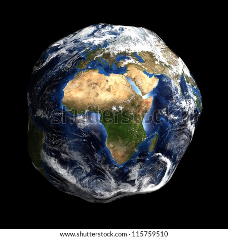 Damaged Earth showing Europe and Africa. Extremely detailed image, including elements furnished by NASA. - stock photo