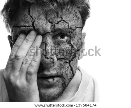 Damaged face.Pain concept - stock photo