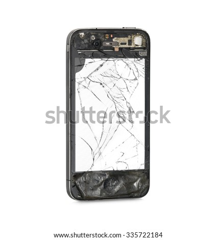 Damaged front side with white screen of smart-phone isolated on white background. Clipping path - stock photo