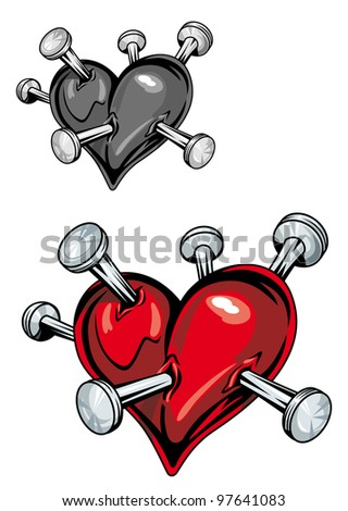 Damaged heart with nails for t-shirt or tattoo design. Vector version also available in gallery - stock photo
