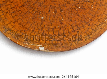 Damaged old Chinese Feng Shui compass plate - stock photo