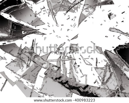 Damaged or broken glass on white background
