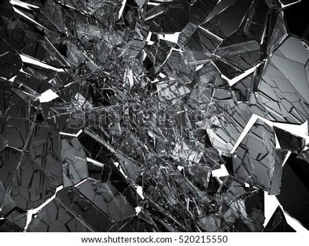 Damaged or broken glass on white. 3d rendering 3d illustration