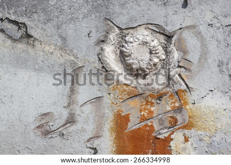 Damaged paint, corroded and rusty on old iron boat abstract beautiful background texture - stock photo