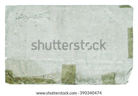Damaged paper blank with torn edges isolated on white background. Vintage texture. - stock photo
