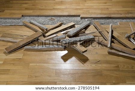Damaged Parquet with space for your text. - stock photo