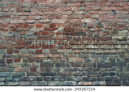 Damaged peeled  worn brick wall texture background. Vintage effect.  - stock photo
