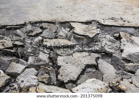 Damaged roadway