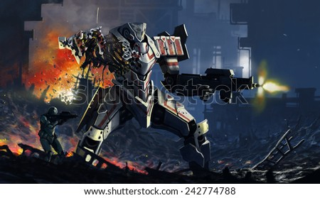 damaged robot and a soldier - stock photo