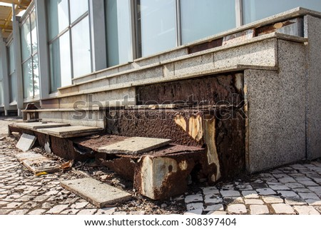 damaged stairs at the building in Macao - stock photo