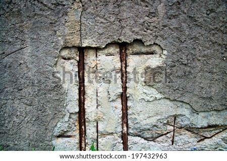 Damaged surface of a concrete wall