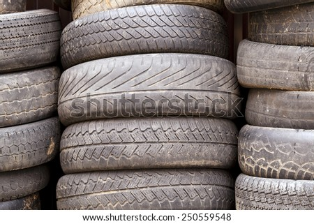 damaged tires  - stock photo
