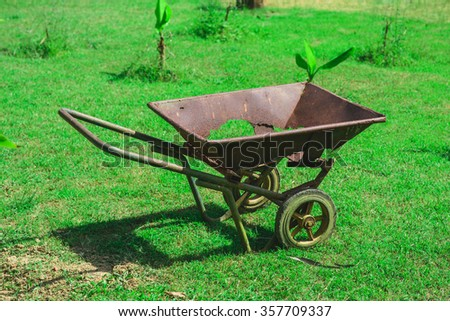 Damaged trolley over the grass