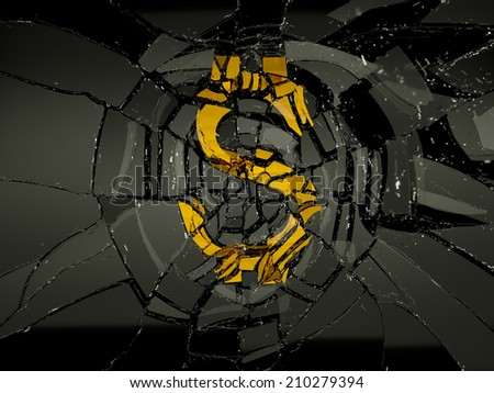 Damaged US dollar symbol over black glass. Economy and recession - stock photo