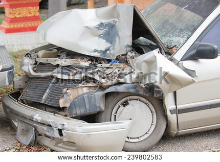 Damaged vehicle after car accident